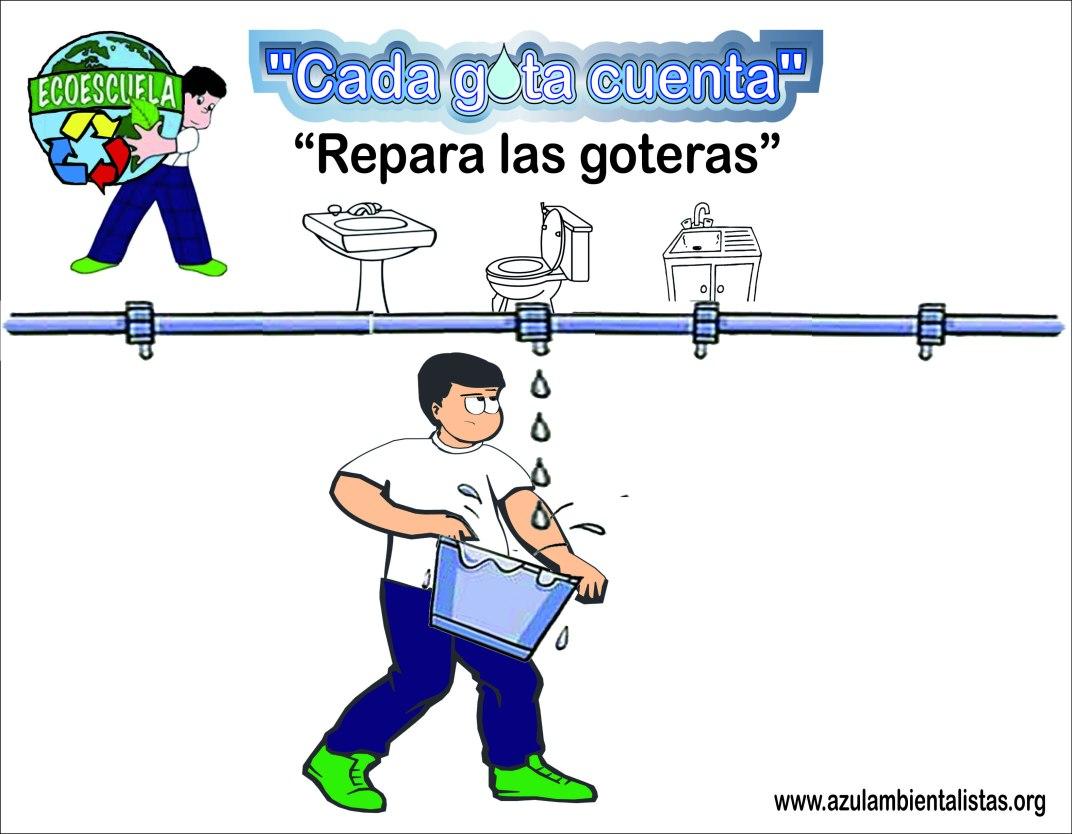 """Posters de la Campaña """"Cada gota cuenta"""" - Repara las goteras"""